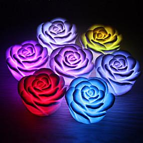 Недорогие LED гаджеты-1 шт. Роза цветок из светодиодов свет ночь меняется 7 цветов романтическая свеча свет лампы