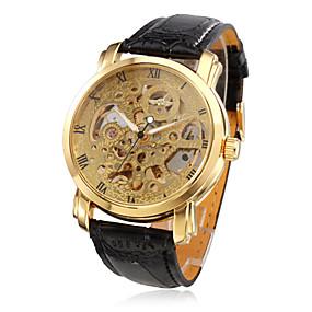 Недорогие Фирменные часы-WINNER Муж. Часы со скелетом Механические часы С автоподзаводом Стеганная ПУ кожа Черный Защита от влаги С гравировкой Аналоговый Роскошь - Золотой