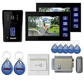 "povoljno Video portafoni-7 ""boja handsfree video ulazni telefon s 2 monitora noćni vid RFID keyfobs elektronički kontrolni zaključavanje"