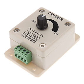 olcso Kapcsolók & Foglalatok-dc12-24v 8a kézi működtetésű manuális szabályzó, 0% -100% -os pwm dimmel vezérlés, fényerő LED dimmer kapcsoló 5050/3528 egyszínű led csíkokhoz, szalagfényekhez, szalagos fényekhez vagy más vezető ter