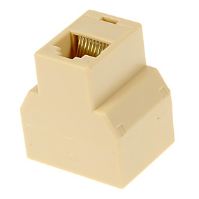 cheap Computer Peripheral Accessories-RJ45 Female to 2 Female Adapter Beige