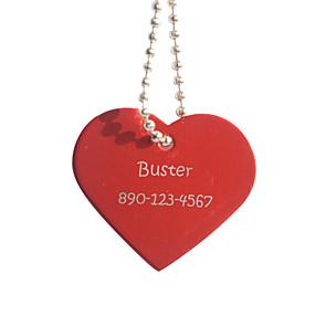 olcso Újdonságok-Személyre szabott termékek-, Személyre szabott ajándékot szív alakú piros Pet Id Name Tag Láncos kutyák
