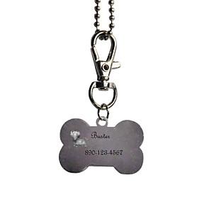 olcso Újdonságok-Személyre szabott termékek-, Személyre szabott ajándékot csont alakú rózsaszín és fekete Pet Id Name Tag Láncos kutyák