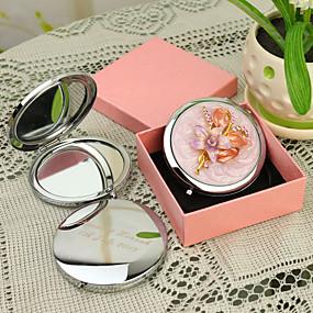 olcso Újdonságok-Személyre szabott termékek-, Személyre szabott ajándékot virágos stílus Pink Chrome kompakt tükör