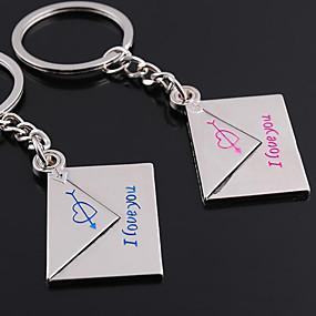 olcso Egyedi minták és ajándékok-Személyre szabott gravírozott ajándéktárgyak Pár boríték alakú Lover kulcstartó