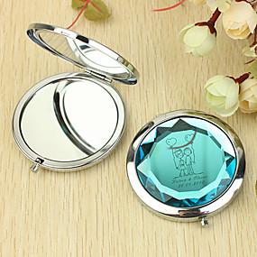 povoljno Personalizirani printevi i darovi-Personalizirani poklon srca i ljubavnik Pattern Chrome Compact Mirror