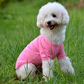 economico Prodotti Per Animali-Cane T-shirt Tinta unita Stile semplice Abbigliamento per cani Giallo Rosso Blu Costume Cotone XS S M L XL