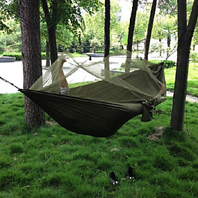 cheap Camping & Hiking Accessories-Camping Hammock with Mosquito Net Double Hammock Outdoor Portable Breathable Quick Dry Anti-Mosquito Ultra Light (UL) Parachute Nylon with Carabiners and Tree Straps for 2 person Hunting Fishing