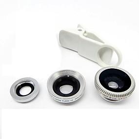 olcso Mobiltelefon kamera-univerzális klips objektív széles látószög + makró + fisheye objektív - ezüst az iphone 8 7 samsung galaxis s8 s7