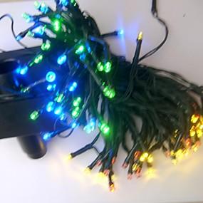 Χαμηλού Κόστους Ηλιακά φώτα LED-17m 100 leds επαναφορτιζόμενες / διακοσμητικές για υπαίθρια / κήπο pvc Χριστουγεννιάτικη διακόσμηση κορδόνι φώτα άσπρο / ουράνιο τόξο