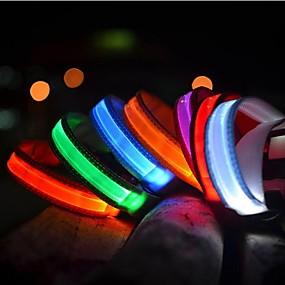 preiswerte Haustierzubehör-Katze Haustiere Hund Halsbänder Training - Hundhalsbänder LED-Lampen Elektrisch Im Dunkeln leuchtend Solide Nylon Regenbogen Gelb