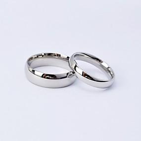 povoljno Nakit i ručni satovi-Par je Prstenje za parove Srebro Kralj kraljica Titanium Steel Krug dame Jednostavan Svaki dan Vjenčanje Dnevno Jewelry Classic Style Prijateljstvo