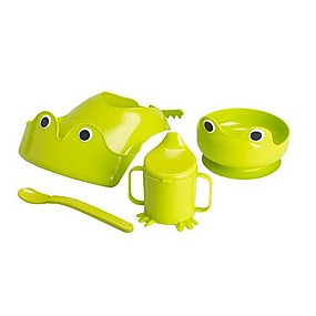 cheap Kids At Home-Frog Baby Feeding Tableware Polyethylene Plastic 4-pcs 20x18.5x3.5cm