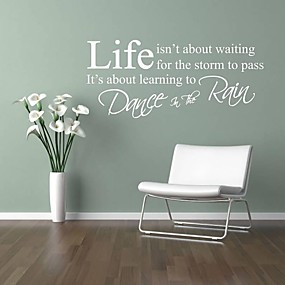 cheap Decoration Stickers-Words & Quotes Wall Stickers Words & Quotes Wall Stickers Decorative Wall Stickers, PVC(PolyVinyl Chloride) Home Decoration Wall Decal Wall Decoration / Washable / Removable