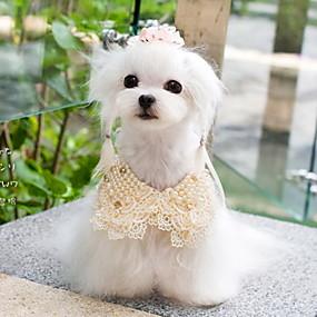 Недорогие Бижутерия и аксессуары для собак-Собака пояс / Бабочка Косплей Одежда для собак Белый Желтый Костюм Смешанные материалы