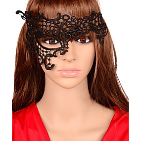 olcso Kalapok és sapkák-Women's Sexy Cut Out Lace Half Face Party Mask