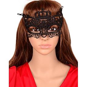 Недорогие Головные уборы-сексуальная женская вырезать корону кружева маска партии