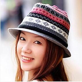 Недорогие Головные уборы-женская мода британский стиль полосой вязание теплая мягкая фетровая шляпа шляпа