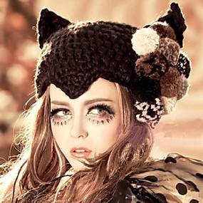 Недорогие Головные уборы-женские модные джокер милые дьявол цветы утолщение теплую шапку