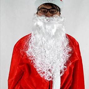 """olcso Karácsonyi díszek-16 """"hosszú, fehér deluxe göndör mikulás szakáll anyag pp"""