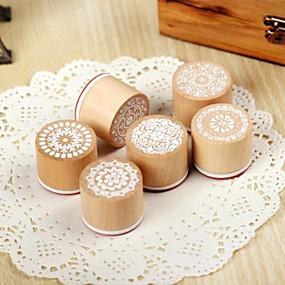 olcso Pecsétek és lyukasztók-1 db kör alakú fából készült antik pecsét véletlen minta