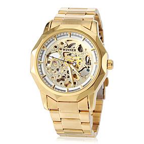 voordelige Merk Horloge-WINNER Heren Skeleton horloge Polshorloge mechanische horloges Automatisch opwindmechanisme Roestvrij staal Goud Hol Gegraveerd Analoog Luxe Vlinder - Wit Zwart