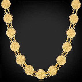 olcso U7-Női Rövid nyakláncok Nyakláncok Vintage nyaklánc hölgyek Divat Dubai Platina bevonat Arannyal bevont Sárga arany Ezüst Aranyozott Nyakláncok Ékszerek Kompatibilitás Esküvő Parti Különleges alkalom
