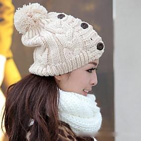 Недорогие Головные уборы-женская три кнопки поворот Вязание Hat