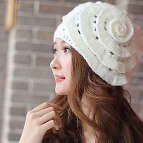 Недорогие Головные уборы-женская мода сладкий вязание цветок шляпа