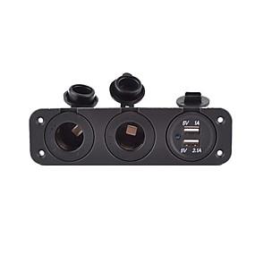 voordelige Autoladers-5v 3.1a autolader drie-gats paneel met dubbele usb-poort en 2 sigarettenaansteker waterdichte stroomadapters stopcontact