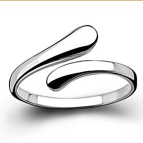 olcso Ezüst-Női Band Ring Nyilatkozat gyűrű Ezüst Ezüst Alap Nyitva Esküvő Parti Ékszerek Szerelem