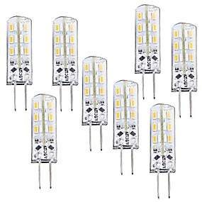 ieftine Becuri LED Corn-8pcs 1 W Becuri LED Corn 100-120 lm G4 T 24 LED-uri de margele SMD 3014 Intensitate Luminoasă Reglabilă Alb Cald 12 V