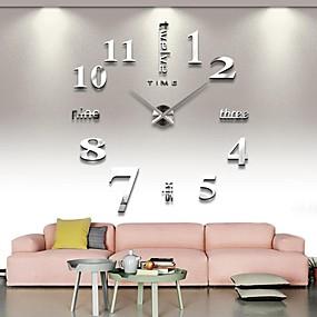 povoljno Dom i vrt-frameless veliki diy zidni sat, moderni 3d zidni sat s naljepnicama zrcalnih brojeva za poklon kućnog ureda