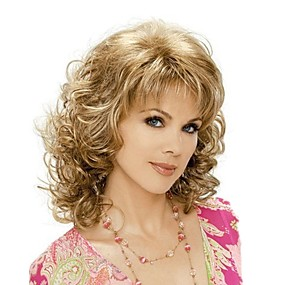 cheap Health & Beauty-Synthetic Wig Curly Style With Bangs Wig Blonde Brown With Blonde Synthetic Hair Women's Blonde Wig Medium Length