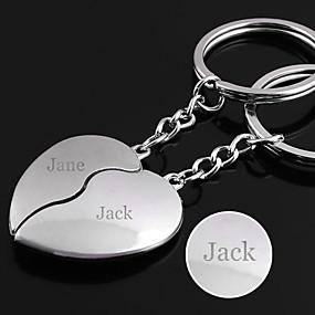 billiga Personliga tryck och gåvor-Personlig graverad gåva ett par Heart Shaped Lover Keychain