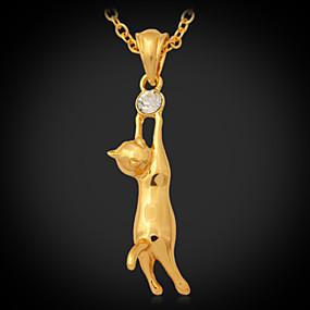 olcso Ékszerek&Karórák-Női Szintetikus gyémánt Nyaklánc medálok hölgyek Divat Dubai Strassz Platina bevonat Arannyal bevont Arany Nyakláncok Ékszerek Kompatibilitás Esküvő Parti Napi Hétköznapi / Hamis gyémánt