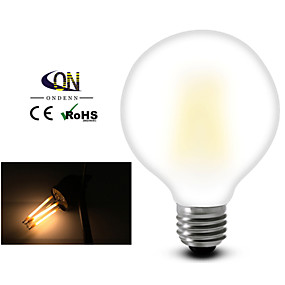 olcso ONDENN-1db 8 W Izzószálas LED lámpák 2800-3200 lm E26 / E27 G95 8 LED gyöngyök COB Tompítható Meleg fehér 220-240 V 110-130 V / 1 db. / RoHs
