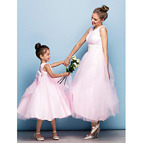 cheap Flower Girl Dresses-Ball Gown Tea Length Flower Girl Dress - Tulle Sleeveless V Neck with Beading / Appliques / Pearls by LAN TING BRIDE® / Cocktail Party / Formal Evening / Holiday / Mini Me
