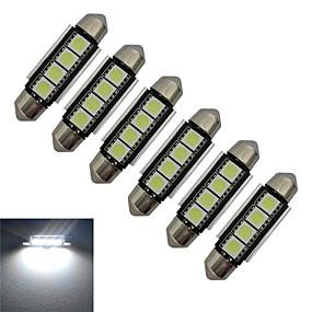 olcso Más LED fények-jiawen 6db 1.5w 80-90 lm autó fény olvasó fénydekoráció lámpa 4 leds smd 5050 hideg fehér dc 12v