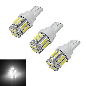 olcso Más LED fények-jiawen 3db 3w 210 lm t10 autó izzók olvasó fény díszítés fény 10 leds smd 7020 hideg fehér dc 12v