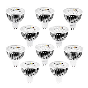 ieftine Spoturi LED-10pcs 4 W 320 lm MR16 Spoturi LED 4 LED-uri de margele LED Putere Mare Intensitate Luminoasă Reglabilă Alb Cald / Alb Rece / Alb Natural 12 V / 10 bc / RoHs