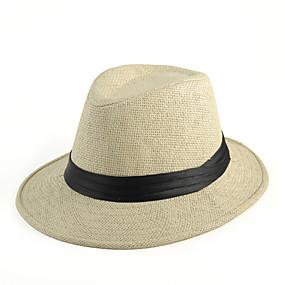 olcso Férfi kalapok és sapkák-Nyár Vintage/Alkalmi Uniszex Fedora kalap , Szalma