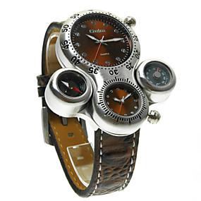 Недорогие Фирменные часы-Oulm Муж. Наручные часы Кварцевый Стеганная ПУ кожа Черный / Коричневый С двумя часовыми поясами Аналоговый Steampunk - Белый Черный Коричневый