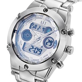 Недорогие Фирменные часы-ASJ Муж. Спортивные часы Наручные часы Кварцевый Роскошь Защита от влаги Нержавеющая сталь Серебристый металл Аналого-цифровые - Белый Черный Синий Два года Срок службы батареи / Календарь / Японский