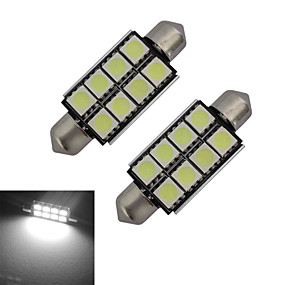 cheap Other LED Lights-2pcs 42mm 1.5W 150lm Car Light Bulbs 8LEDs SMD 5050 Reading Light Cold White DC 12 V