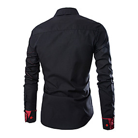 cheap Top Sellers-Men's Plus Size Shirt Solid Colored Slim Tops Business Casual Classic Collar Wine White Black / Spring / Fall / Long Sleeve / Work