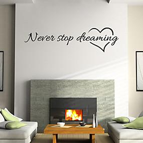זול סטיקרים לקישוט-צורות Words & Quotes סרט מצויר מדבקות קיר מילים & ציטוטים מדבקות קיר מדבקות קיר דקורטיביות, ויניל קישוט הבית מדבקות קיר קיר