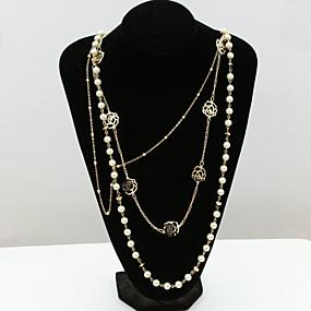 olcso Többsoros nyaklánc-Női Kristály Nyilatkozat nyakláncok Pearl Pászmák hosszú nyaklánc Lotus hölgyek Európai Divat 18 karátos futtatott arany Gyöngy Strassz Arany Nyakláncok Ékszerek Kompatibilitás / Hamis gyémánt