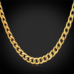 olcso U7-Férfi Nyakláncok Vintage nyaklánc Kanyar lánc hölgyek Gótikus Divat Rozsdamentes acél Arannyal bevont Fekete Fehér Arany Nyakláncok Ékszerek Kompatibilitás Esküvő Parti Napi Hétköznapi