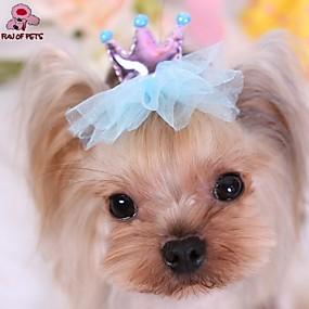 Недорогие Бижутерия и аксессуары для собак-Кошка Собака Аксессуары для создания прически Бант Косплей Свадьба Одежда для собак Красный Синий Розовый Костюм Терилен
